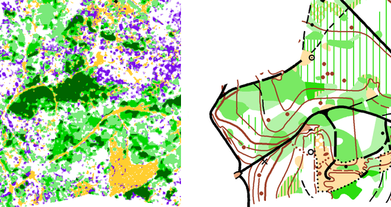 Raster map generated with the LiDAR Point Cloud Manager compared with the Orienteering map of the same area.