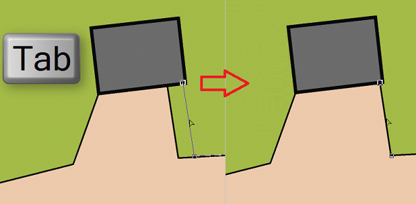 Move neighboring segments and congruent vertices
