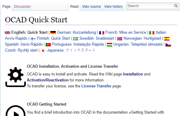 Wiki page 'Quick Start with OCAD'