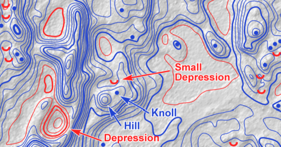 Automatic Detection of Hills and Depressions