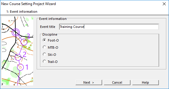 New Course Setting Project Wizard